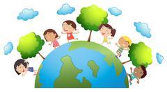 Happy children around the world Stock Illustration