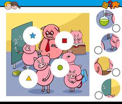 Match pieces game with pigs Stock Illustration