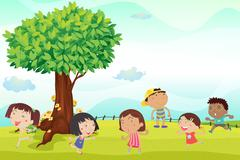 Six children running in park Stock Illustration