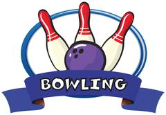 Logo design with bowling pins and ball Stock Illustration