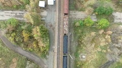 Cargo train from above Stock Footage