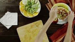 View of taking a banana to chop Stock Footage