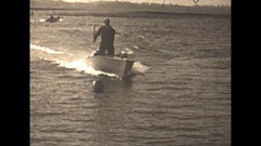 Vintage 16mm film, 1929, motorboats and men water polo lake #1 Stock Footage