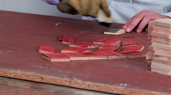 Workman in the process of applying mordants to the wood Stock Footage