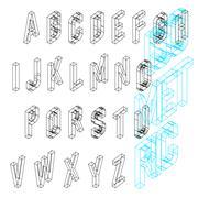 Isometric wireframe font. Upper case 26 latin letters. Stock Illustration
