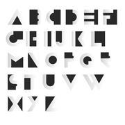 Geometric Retro Alphabet.  Art deco style. Type, font, vintage vector typogra Stock Illustration