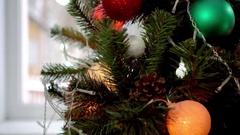 Christmas tree with colorful lights and balls Stock Footage