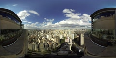 Aerial skyline of Sao Paulo Brazil from the city center. 360 video vr panorama  Stock Footage