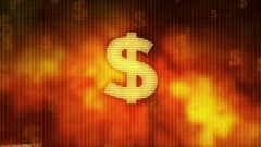 Dollar rising on red background, currency gains value, financial crisis averted Stock Footage
