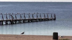 Boat dock at the sea pier. Pacification autumn nature. Stock Footage