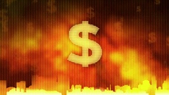 Dollar sign zoom in on red background, financial crisis, debt default, monopoly Stock Footage