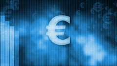Euro dropping, descending graph background, world crisis, stock market crash Stock Footage