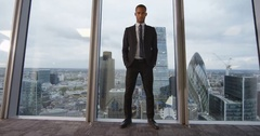 4k, Portrait of a confident businessman standing in an office Stock Footage