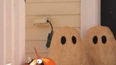Urban house decorated for Halloween. Stock Footage