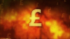 Pound rising on red background, currency gains value, financial crisis averted Stock Footage
