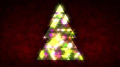 Christmas tree of triangles with loop between 5:00-20:00. Red centred version. Stock Footage