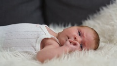 Simple portrait of a newborn baby Stock Footage