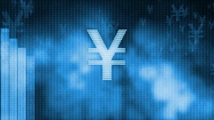 Yen dropping, descending graph background, world crisis, stock market crash Stock Footage