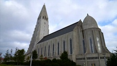 Famous icelandic church Hallgrímskirkja, Reykjavik, Iceland. Stock Footage