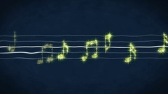 Shiny gold music notes moving on sheet, karaoke song, concert show on LED screen Arkistovideo