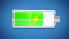 Low battery charging, changing color from yellow to green, charging completed Stock Footage