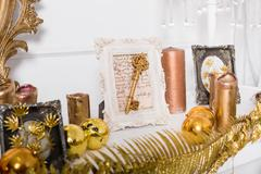 Christmas mantelpiece decoration Stock Photos