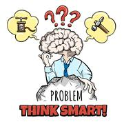 Human brain in thinking process tries to solve a complex problem and motivati Stock Illustration