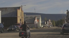 Road in a small, western town. Stock Footage