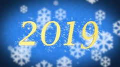 2019 creative New Year celebration message on blue snowy background, screensaver Stock Footage