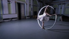 Woman make an awesome acrobatic trick Stock Footage