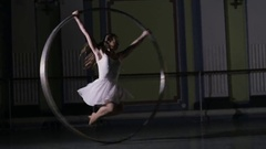 Circus artist on scene make a show Stock Footage