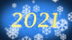 2021 creative New Year celebration message on blue snowy background, screensaver Stock Footage