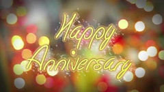 Shiny colorful Happy Anniversary congratulation message, celebration background Stock Footage