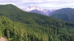 4K aerial view Seattle backward Mount Rainier Stock Footage