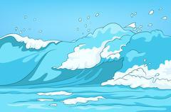 Cartoon background of sea landscape Stock Illustration