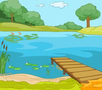 Cartoon background of forest lake with pier Stock Illustration