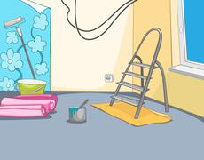 Cartoon background of apartment renovation Stock Illustration