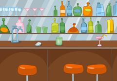 Cartoon background of bar counter Piirros