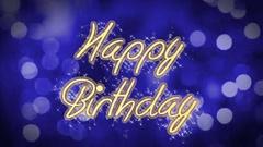 Happy Birthday shiny message on blue background, creative greeting, celebration Stock Footage