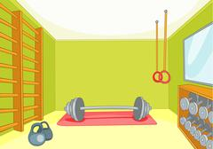 Cartoon background of gym room Piirros