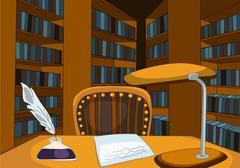 Cartoon background of vintage library room Piirros