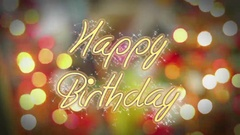 Shiny Happy Birthday message on colorful background, creative greeting, present Stock Footage