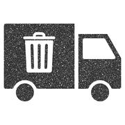 Rubbish Transport Van Icon Rubber Stamp Stock Illustration