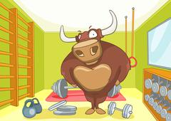 Cartoon background of gym room with bull Piirros