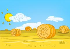 Cartoon background of field with straw bales Stock Illustration