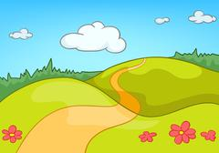 Cartoon background of countryside summer landscape Stock Illustration