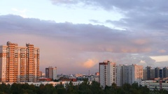 Dormitory area in North Saint Petersburg district, evening skyline view Stock Footage
