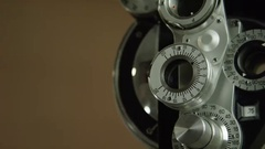 Eye Doctor - Phoropter tool used by Optometrist Stock Footage