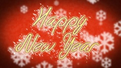 Congratulation message Happy New Year on winter themed background, greeting Stock Footage
