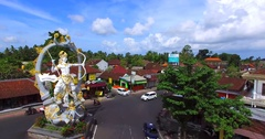 The statue of Arjuna at the intersection of Jalon Raya Ubud, Jalon Raya Andong, Stock Footage